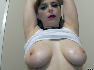 Sexy Redhead Plays With Her Huge Oily Natural Tits!