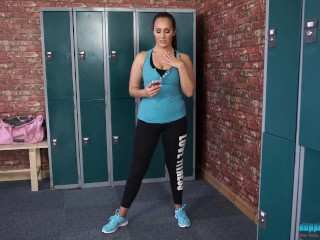 Horny Brunette Gves You JO makes you cum n the gym cha rooms