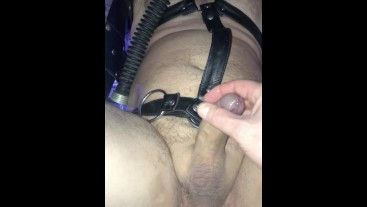 Restrained, Used, Sling and Cum.
