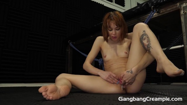 Skinny red head gets fucked by the cocksmen