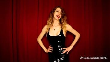 Steamy FemDom CEI by Goddess Nikki Kit in a PVC Dress