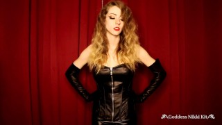 Locked in Chastity by a Sensual Mistress in Leather by Goddess Nikki Kit