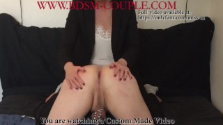 Miss M. makes slave p. take a HUGE COURGETTE in the ASS!