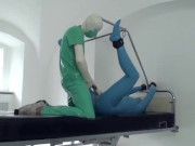 Sexy Girl Full Encased In Blue Latex Catsuit + Condom Mask And Hard Fucked