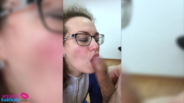 Sexy MILF Deepthroat and Jumping Big Dildo - Cum in Mouth POV