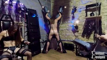 Anal Hook while strapped to the St Andrews Cross