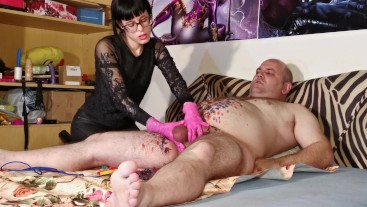CBT w Slapping-spanking-clothespins by sexy goth domina pt2 HD