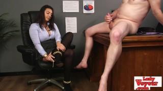Nasty british femdom chick watching jerk