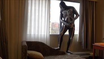 skeleton cums on hotel window