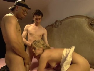 Barely Legal Blonde Teen Gets Pussy Fucked Hard by Two Huge Cock