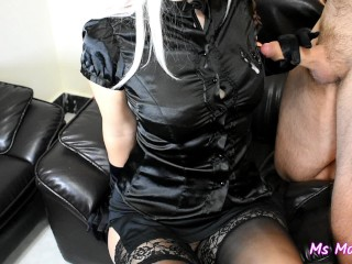 MN handjob wth satn gloves wth cumshot on tts n satn blouse