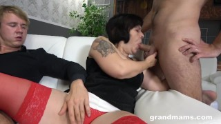 Two Brothers Fuck a Creamy Granny
