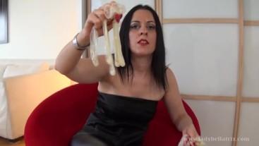 Cuckie Drinks My French Lover's Spunk - Lady Bellatrix teases u with jizz