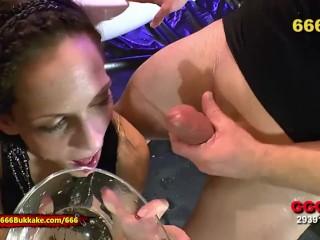 pssed brunette lkes hard cock n her sloppy pussy Bukkake