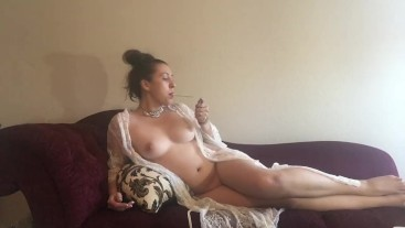 Sexy Brunette Goddess Smoking Virginia Slims 120 Naked w Lace Robe on Couch