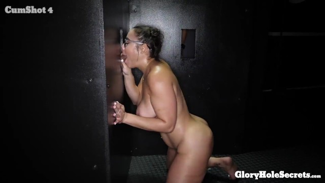 Glory holes blowjob Sexy curvy girl in glasses eats 10 loads of strangers cum