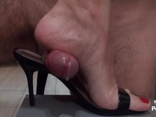 Sensual blowjob and hot hgh heels footjob Andrea stepped on my dck