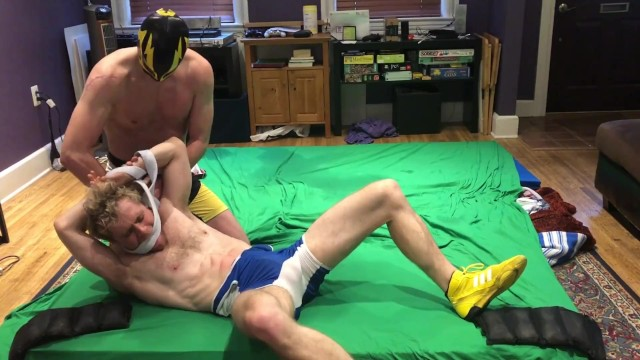 Gay spanking corporal punishment - Hot jock punishes wrestler after match: bondage, gutpunching, ball slapping