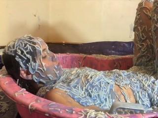 Grl Messed up wth Spaghett Gunge and Mud Wam Splosh Fully Clothed