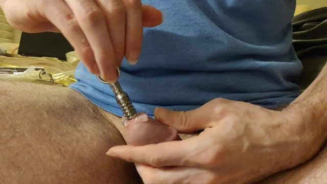 Cock penis stuffing Threaded penis plug insertion and removal
