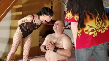 Dominant couple spit abuse a fat slave who drind the spit pt1 HD