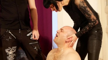 Double face spit abuse slave by dominant couple pt2 HD