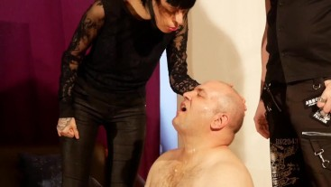 Double face spit abuse slave by dominant couple pt1 HD