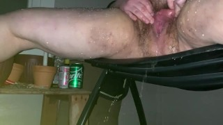 hairy BBW gapes her cunt while spraying piss ALL OVER THE PLACE!! gushing!!