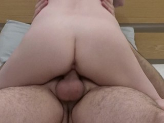 Pale cowgirl creampie