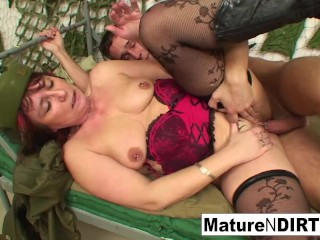 Mature officer fucks her new young recruit until they both cum!
