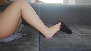 SEXY LITTLE SISTER PLAYING WITH HER DIRTY PANTIES FETISH - SMELLY GROOL CUM