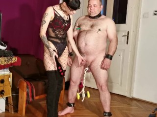 Goth domna panful CBT beunch her fat slave pt HD
