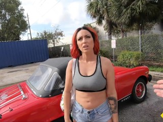 Roadside – Tattoo Redhead Fucks To Get Her Classic Car Fixed