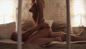 Delicate beautiful sex with creampie. Romantic love sex