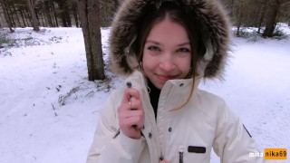 I love quick sex outdoors even in winter – Cum on my pretty face POV