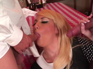Hot Blonde Watress fucked hard Anal and Got Huge Cumshot Facal n a some