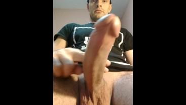 Masturbating with hanging balls and close up of uncut dick