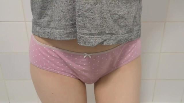 Pee wet - So desperate she cant pee wetting my pink panties... oops