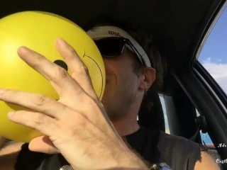 Sweaty Ass Dude n Car Plays Wth Balloons