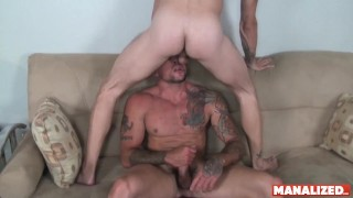 MANALIZED Inked Hunk Sean Duran Barebacked After Giving Head