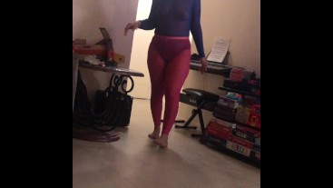 Sister-in-law teasing me in sheer tights and top with wife's permission 2