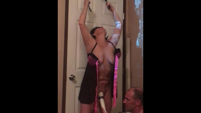 Free bondage pictures of jewell - Secret surprise for me blindfolded and hung from door - cant stand up now