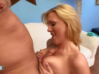 Busty blond babe gets banged