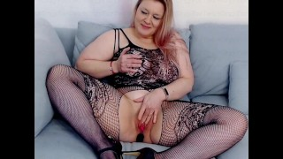 Busty Blonde in Crotchless Bodysuit Masturbates with Anal & Pussy Lovense