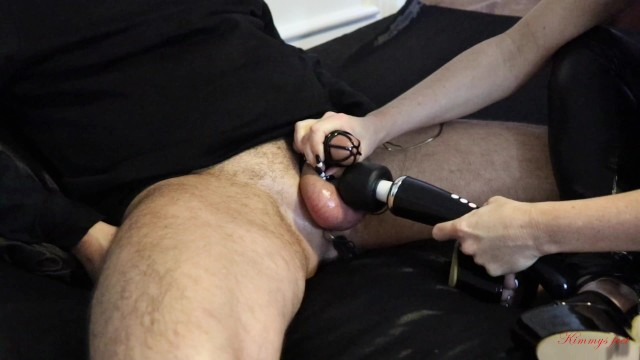 Chastity cock cage - Chastity cage slave anal vibrator cum challenge cums in less 2 minutes day6
