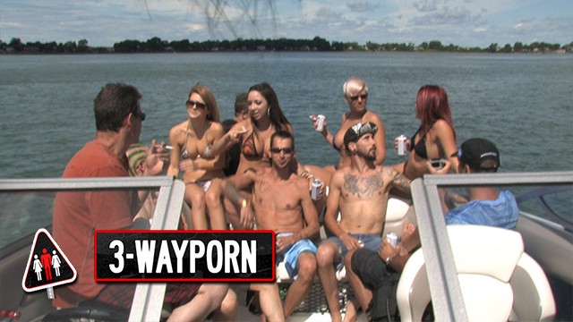Speedboating breasts 3-way porn - speedboat group orgy - part 1