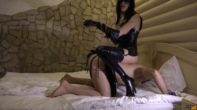 Femdom eashed naked men - Femdom mistress humilation slave with strapon in his ass and chastity belt