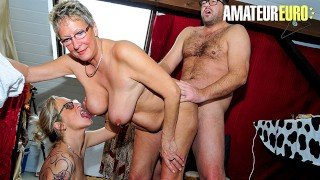 AMATEUREURO - Two Horny German Grannies Seduce And Fuck Their Customer