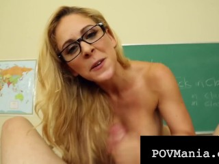 Pretty Professor Cherie Deville Mouth Fucks & Milks Dick POV Cherie Deville