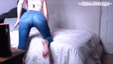 Jeans Fetish Ass Tease in My Bedroom - ass fetish denim tight jeans tease